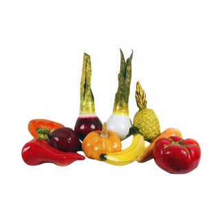 Mexican Papier-Mâché Hand Crafted Fruits and Vegetables - Set of 10 For Sale