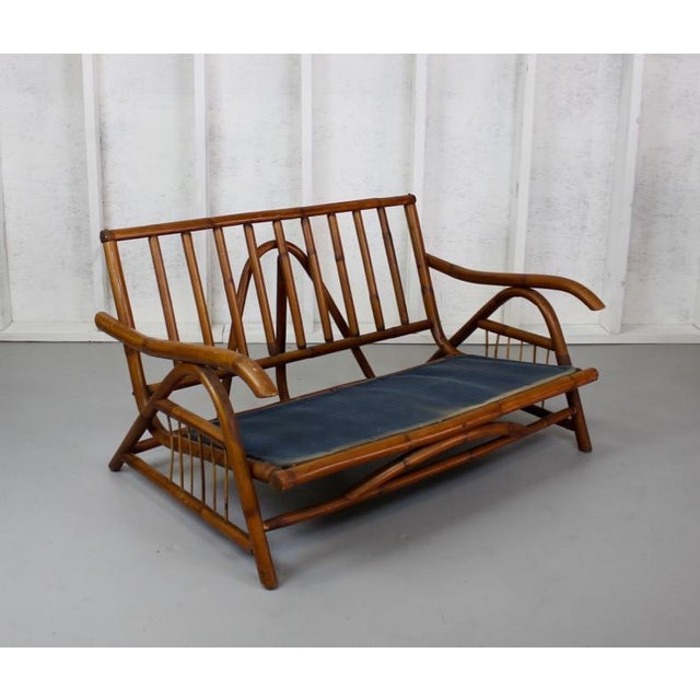 Asian-Inspired Vintage Rattan Loveseat 024d For Sale - Image 4 of 4