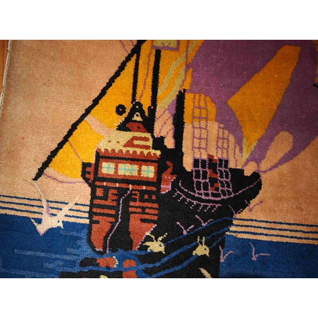 Asian 1920s Antique Art Deco Chinese Rug - 2′7″ × 4′6″ For Sale - Image 3 of 5