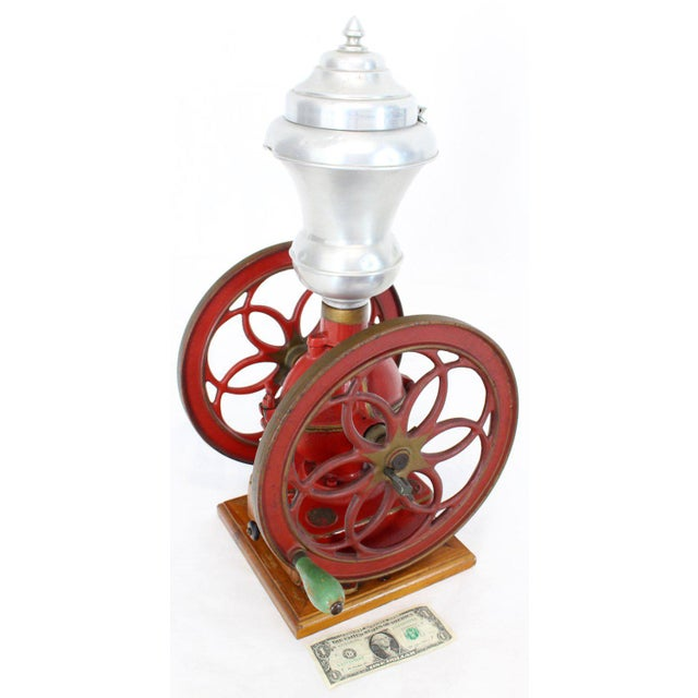 Stone Large Antique Double Cast Iron Wheel Coffee Grinder Fire Red Very Clean For Sale - Image 7 of 12