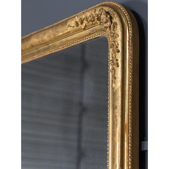 Late 19th Century Antique French Louis Philippe Gold Leaf Mirror circa 1870 For Sale - Image 5 of 10