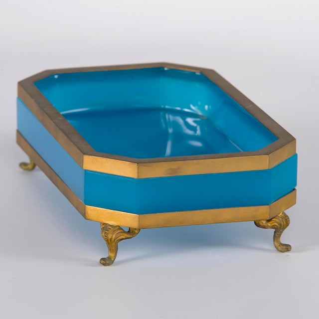 Gold French Footed Blue Opaline Glass and Brass Dish For Sale - Image 8 of 13
