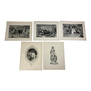 1892 Antique Prints of Characters From Poetry of the British Isles - Set of 5 For Sale