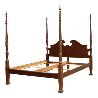 Federal Style Four Poster King Size Rice Carved Bed