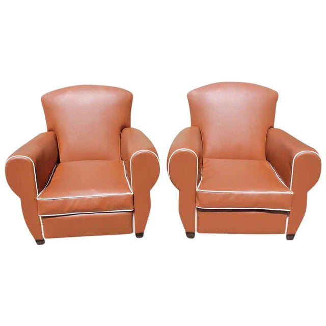 1950s Vintage French Art Deco Club Chairs - a Pair For Sale