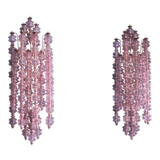 Gino Sarfatti Pair of Unique Pink Murano Glass Wall Appliques, Italy, 1961 For Sale