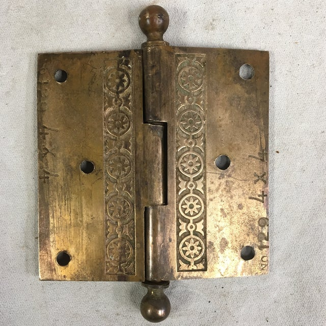Metal Antique Victorian Eastlake Brass Door Hinge For Sale - Image 7 of 11