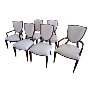 Modern Henredon Furniture Barbara Barry Shield Back Dining Chairs- Set of 6 For Sale