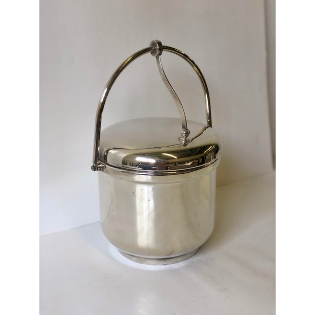 Reed & Barton Silverplated Swing Top Ice Bucket and Tongs, Reed & Barton - a Pair For Sale - Image 4 of 13