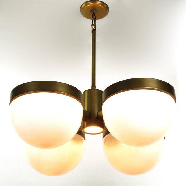 Feldman Lighting Five-Light Hemispherical Milk Glass and Brass Pendant For Sale In Chicago - Image 6 of 10