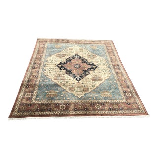 Hand-Knotted Heriz Style Area Rug - 7′9″ × 9′11″ For Sale