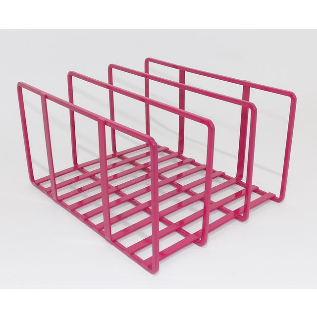 Abstract 1980s Pink Metal Vinyl Record Holder Book Stand For Sale - Image 3 of 7