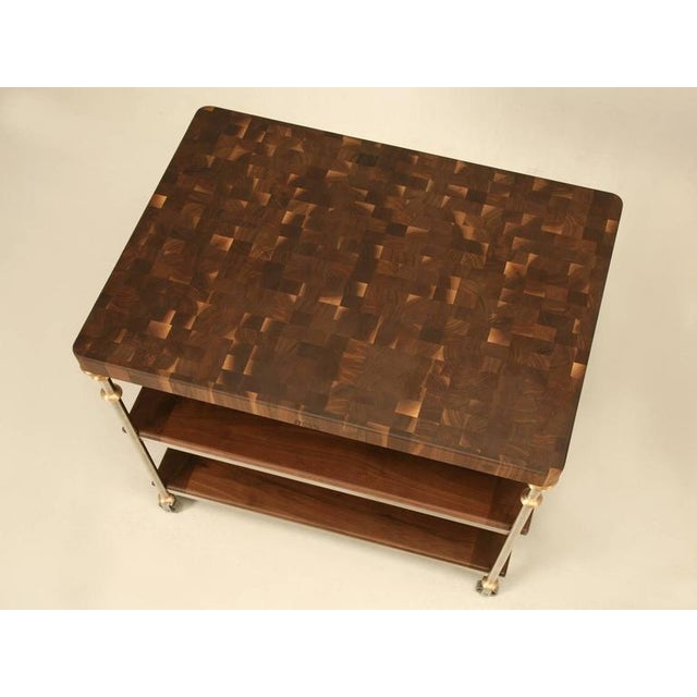 Industrial Style Stainless Butcher Block Island For Sale - Image 4 of 10