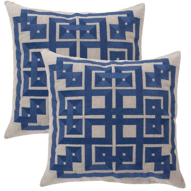 Embroidered Linen Pillows - A Pair - Image 1 of 2
