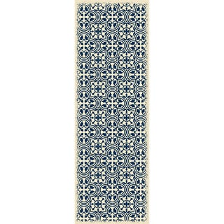 Blue & White Quad European Design Rug - 2' X 6'
