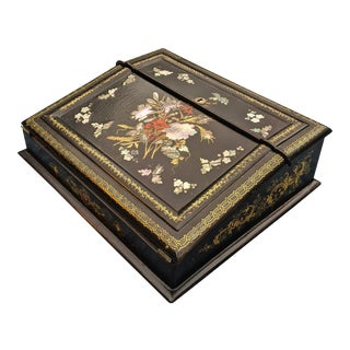 19th Century English Regency Black Lacquer Paper Mache & Mother of Pearl Inlaid Lap Desk For Sale