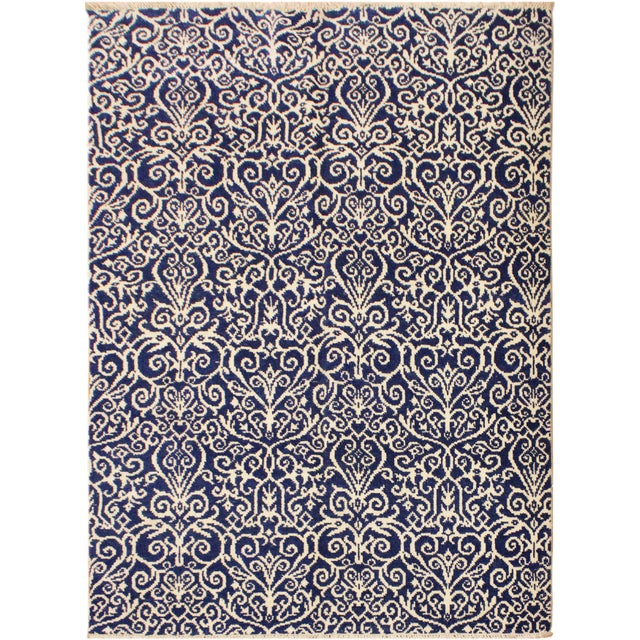 Blue Cryena Modern Tiffiny Blue/Ivory Wool Rug - 5'2 X 7'2 For Sale - Image 8 of 8