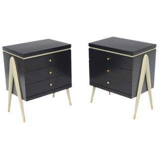 Pair of Compass Shape Legs Black and Grey Lacquer 2 Drawer Night Stands, Brass For Sale