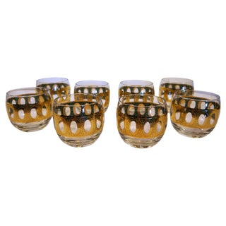 1960's Gold Roly Poly Glasses - Set of 8