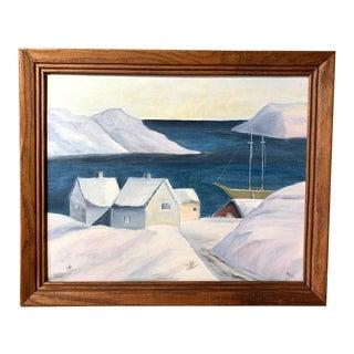 Oil Painting - Primitive Snowbound Painting For Sale