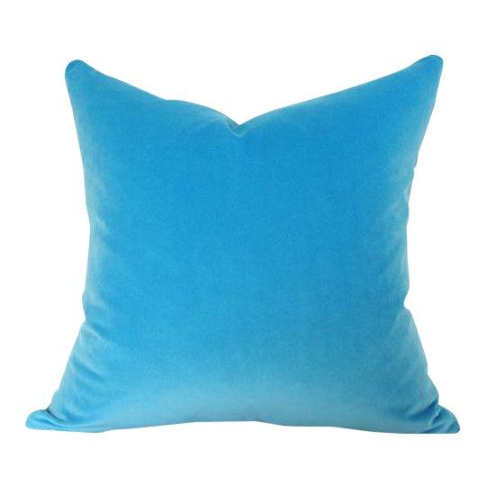 """Image of Capri Blue Velvet Pillow Cover 20"""" Sq"""