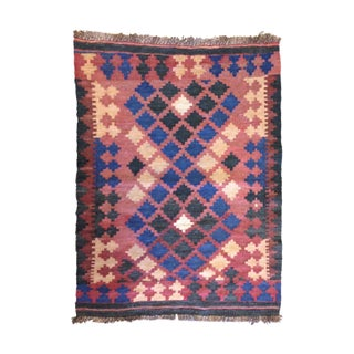"Vintage Small Red and Navy Kilim Rug 2' 3""x 3' 2"""