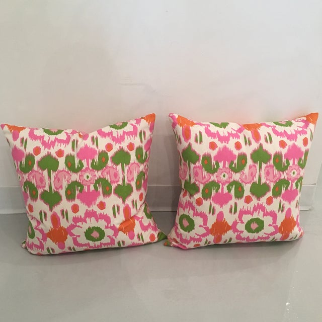 Boho Chic Pink, Orange & Green Ikat Pillows - A Pair For Sale - Image 3 of 6