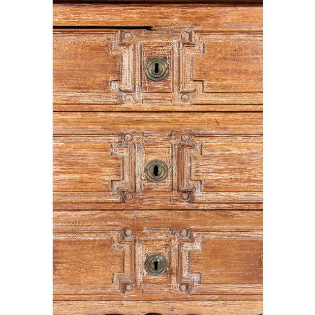 French 18th Century French Distressed Finish Three-Drawer Commode For Sale - Image 3 of 13