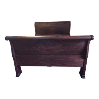 Empire Sleigh Bed With Butterfly Veneer Headboard