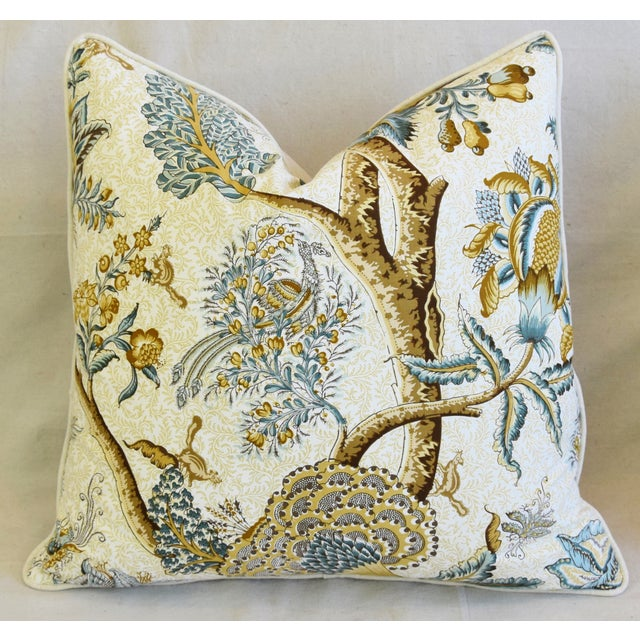 """Cotton French Jacobean Floral Cotton & Linen Feather/Down Pillows 24"""" Square - Pair For Sale - Image 7 of 13"""