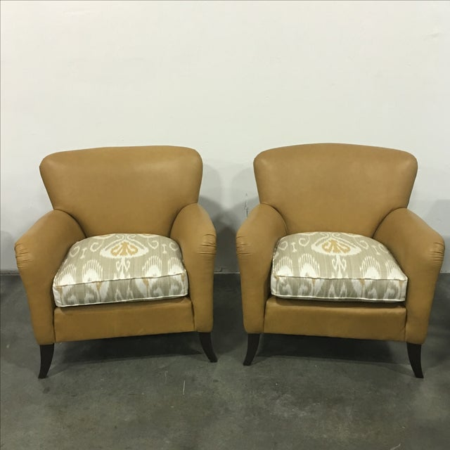 Tan Leather & Ikat Chairs - A Pair - Image 2 of 6