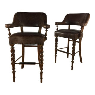 Brown Leather Bar Stools - a Pair For Sale