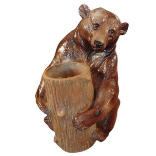 1960's Vintage Italian Glazed Pottery Brown Bear Umbrella Stand For Sale