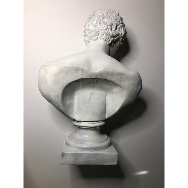Metal 1940s Vintage Neoclassical Style Plaster Bust of Apollo Sculpture For Sale - Image 7 of 12