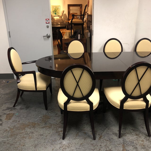 Wood Barbara Barry Oval Dining Table & 8 Chairs for Baker - Set of 9 For Sale - Image 7 of 8