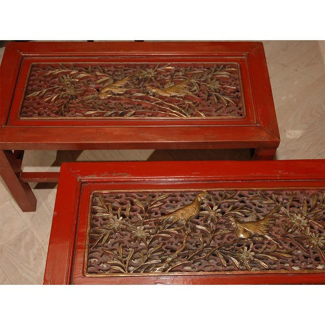 19th Century Red Lacquered Chinese Tables - a Pair For Sale - Image 4 of 6