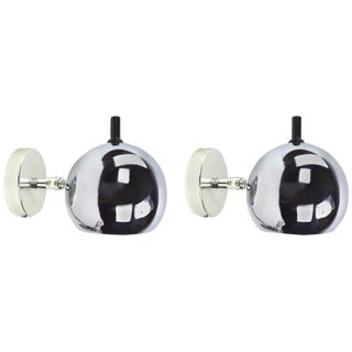 Pair of Chrome Ball Pin Up Sconces by Lightolier For Sale