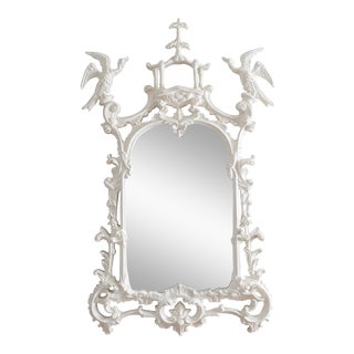 Vintage White Lacquer Pagoda Mirror