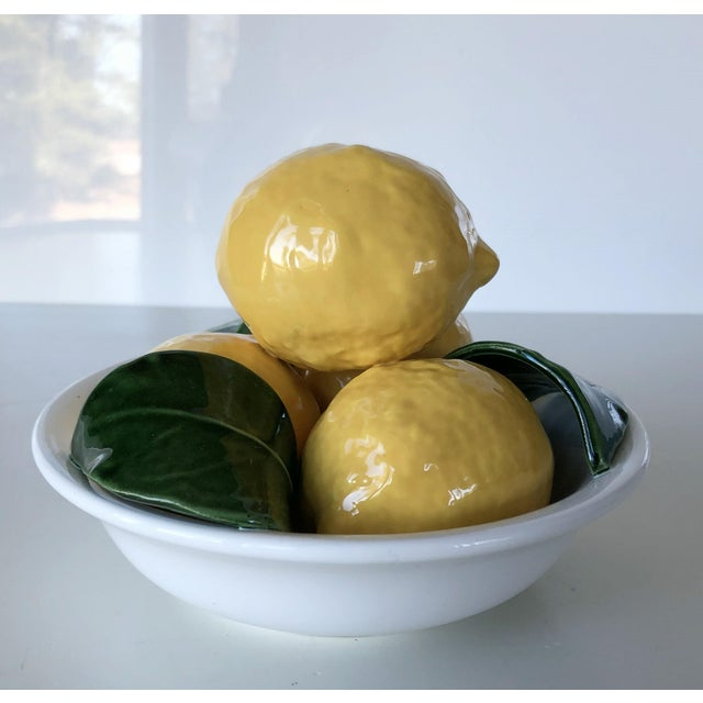 Yellow Vintage Trompe l'Oeil Bertinazzo Italy Ceramic Bowl of Lemons With Leaves For Sale - Image 8 of 12