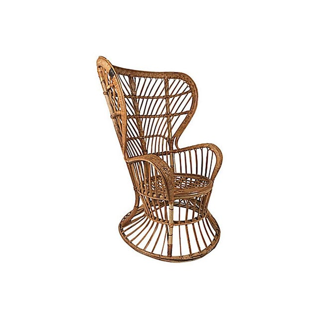 Italian Rattan Wingback Chair by Lio Carminati For Sale - Image 3 of 12