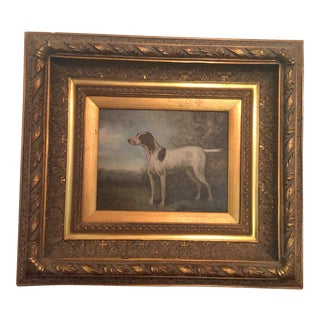 Vintage Pointer on Point Painting For Sale
