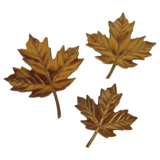 Brass Maple Leaves - Set of 3
