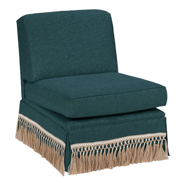 Traditional Casa Cosima Skirted Slipper Chair, Ocean For Sale - Image 3 of 3