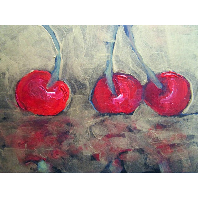 Contemporary Garden Orchard Red Cherries Still Life Oil Painting For Sale - Image 3 of 5