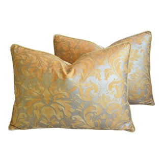 "Italian Mariano Fortuny Lucrezia Feather/Down Pillows 24"" X 18"" - Pair For Sale"