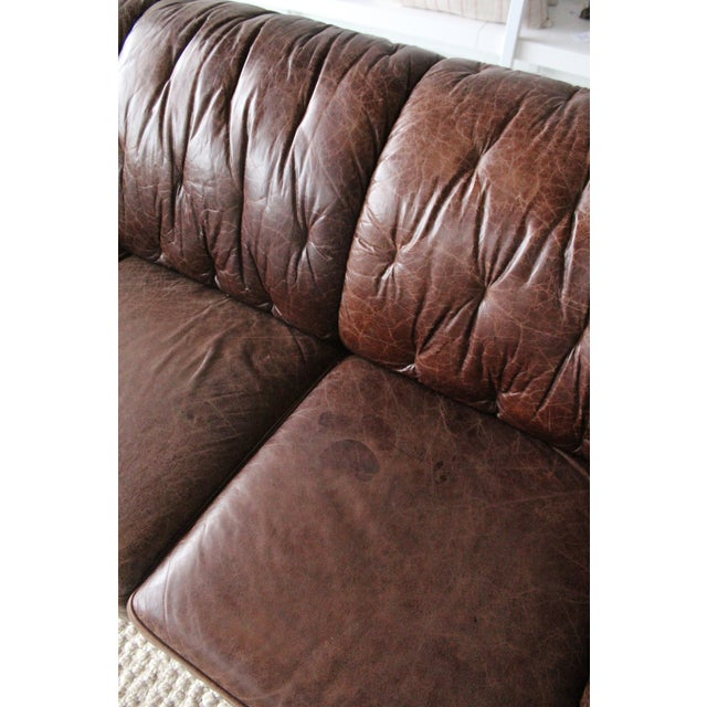 1960s Vintage Italian Leather Sofa For Sale In Dallas - Image 6 of 7
