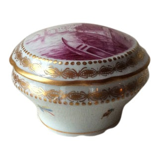 Late 19th Century Antique Dresden Hand-Painted Porcelain Bon-Bon Box For Sale
