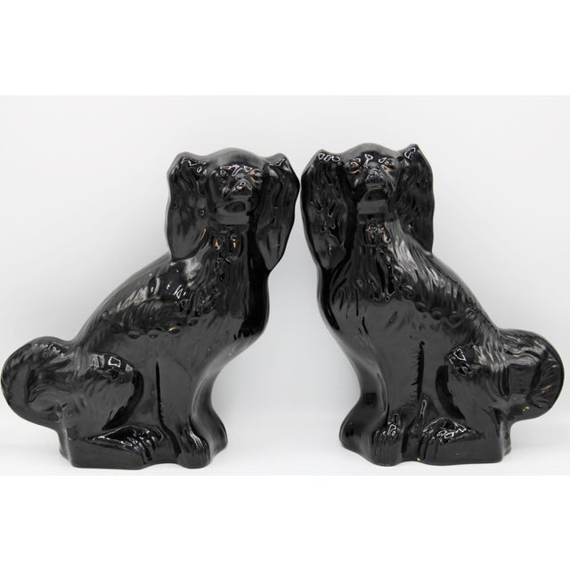 Large English Staffordshire Dogs Jackfield King Charles Spaniels - a Pair For Sale - Image 12 of 13