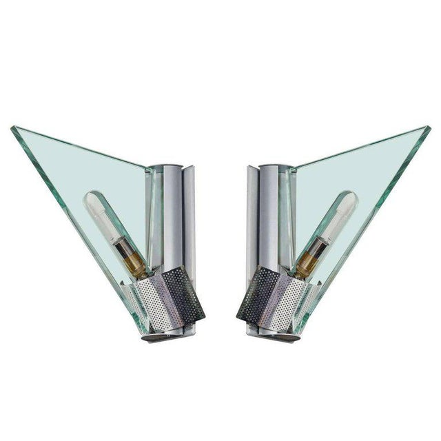 Silver Pair of Italian Modern Architectural Sconces by Carlo Forcolini for Artemide For Sale - Image 8 of 8