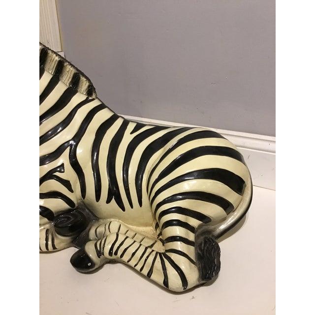 Hollywood Regency Large Italian Ceramic Zebra For Sale - Image 3 of 9
